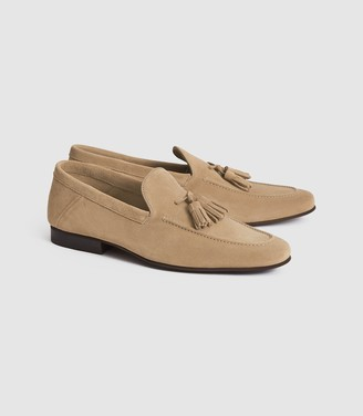 Reiss Larch - Suede Tassel Loafers in Stone