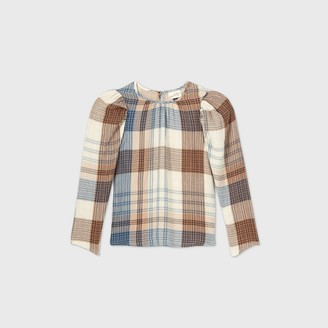 Universal Thread Women's Plaid Puff Long Sleeve Blouse - Universal ThreadTM