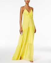 MSK Ruffled Halter Gown