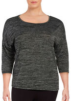 Lord & Taylor Plus Space-Dyed Knit Shirt