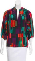 Trina Turk Geometric Print Silk Top