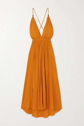 CARAVANA Net Sustain Hera Leather-trimmed Cotton-gauze Halterneck Maxi Dress - Orange