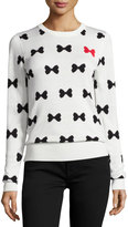 French Connection Allover Bows Long-Sleeve Sweater, White/Black