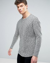 Jack and Jones Originals Longline Knitted Sweater with Curved Hem in Mixed Yarn