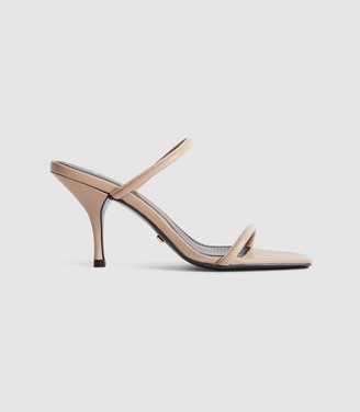 Reiss MAGDA LEATHER STRAPPY HEELED SANDALS Nude