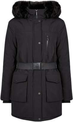 Dorothy Perkins Womens Black Faux Fur Trim Hood Parka Coat, Black