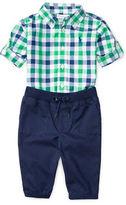 Ralph Lauren Childrenswear Two-Piece Plaid Shirt and Jogger Pant Set
