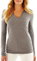 Liz Claiborne Long-Sleeve Split-Neck Tee