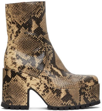 Dries Van Noten Beige Snake Platform Zip-Up Boots