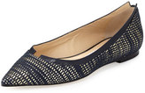 Jimmy Choo Imogen Metallic Pointed-Toe Ballerina Flat, Navy/Gold