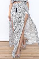 Sage Blue Print Maxi Skirt