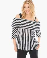 Chico's Striped Cold-Shoulder Top