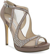 Nina Franca Platform Peep-Toe Evening Sandals
