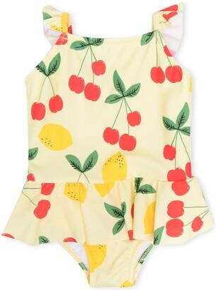 Mini Rodini Cherries And Lemons-Print Swimsuit
