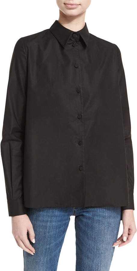 Co Cotton Sateen Pleated-Back Shirt