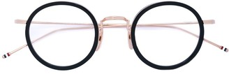 Thom Browne Eyewear Black & Gold Optical Glasses With Clear Lens