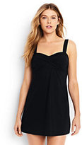 Lands' End Women's DD-Cup Underwire Sweetheart Dresskini Swimsuit Top-Black