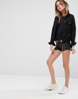 Lee Mid Rise Denim Shorts with Raw Hem
