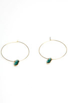 Hoops with Gem Dangle in Emerald