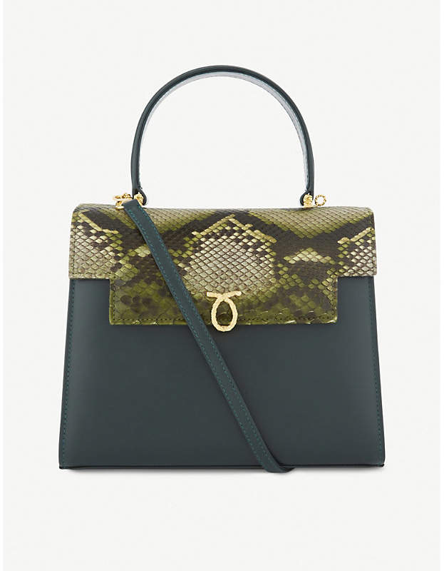 Launer Traviata python-skin leather tote