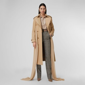 Burberry Jersey Sash Detail Cotton Gabardine Trench Coat