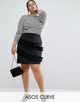 Asos Scuba Mini Skirt with Double Ruffle Detail