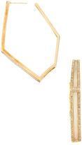 Maiyet 18K Yellow Gold, Bone & 1.09 Total Ct. Diamond Geometric Hoop Earrings