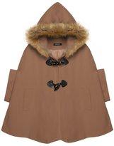 Zeagoo Women's Winter Warm Fur Hooded Cape Wool Poncho Coat