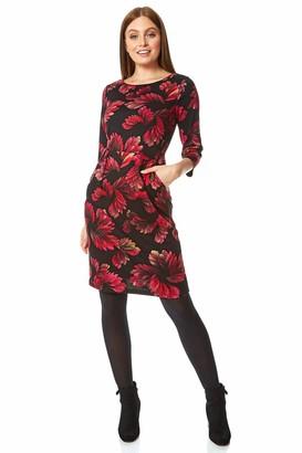 Roman Originals Women Floral Print Ponte Dress - Ladies Autumn Winter Smart Casual Work 3/4 Sleeve Tunic Bohemian Classic Knee Length Tea Loose - Navy Blue & White - Size 18