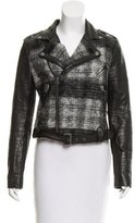 Rebecca Minkoff Cropped Leather-Accented Wool Jacket