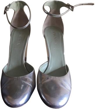 Prada Mary Jane Silver Leather Heels