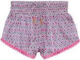 Paloma Blue Paloma Crochet-trimmed Printed Silk-satin Shorts