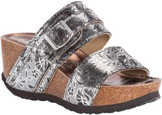 Muk Luks Slip-On Wedge Sandals with Floral Detail - Emery