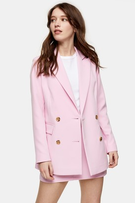 Topshop Womens Pink Double Breasted Jacket - Bright Pink