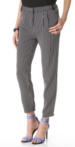 Tibi Stripe Pleated Pants
