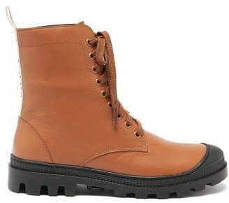 Loewe Logo-tab Leather Boots - Tan