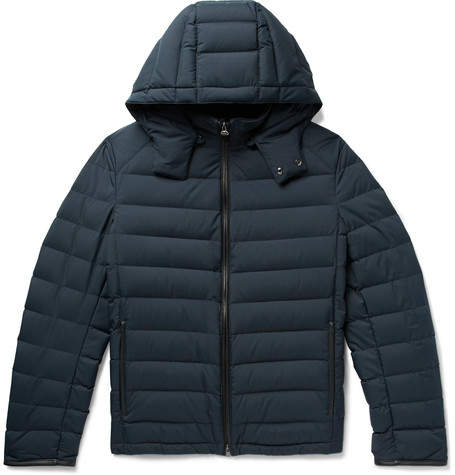 Brioni Slim-Fit Leather-Trimmed Quilted Shell Hooded Down Jacket