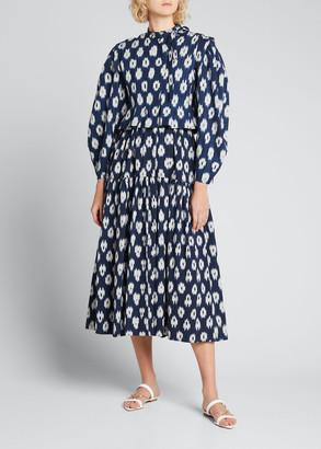 Ulla Johnson Hiroki Ikat-Print Blouson-Sleeve Jacket