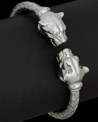 Italian Silver Rhodium Plated Hinged Panther Bangle