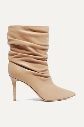 Gianvito Rossi Cecile 85 Ruched Leather Ankle Boots - Sand