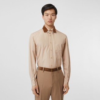 Burberry Classic Fit Detachable Collar Cotton Poplin Shirt