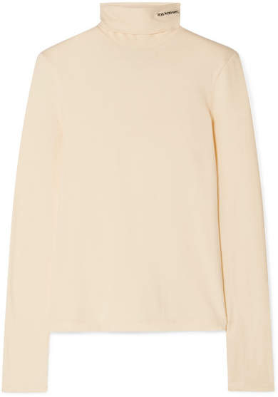 Calvin Klein Embroidered Cotton-jersey Turtleneck Top - Yellow