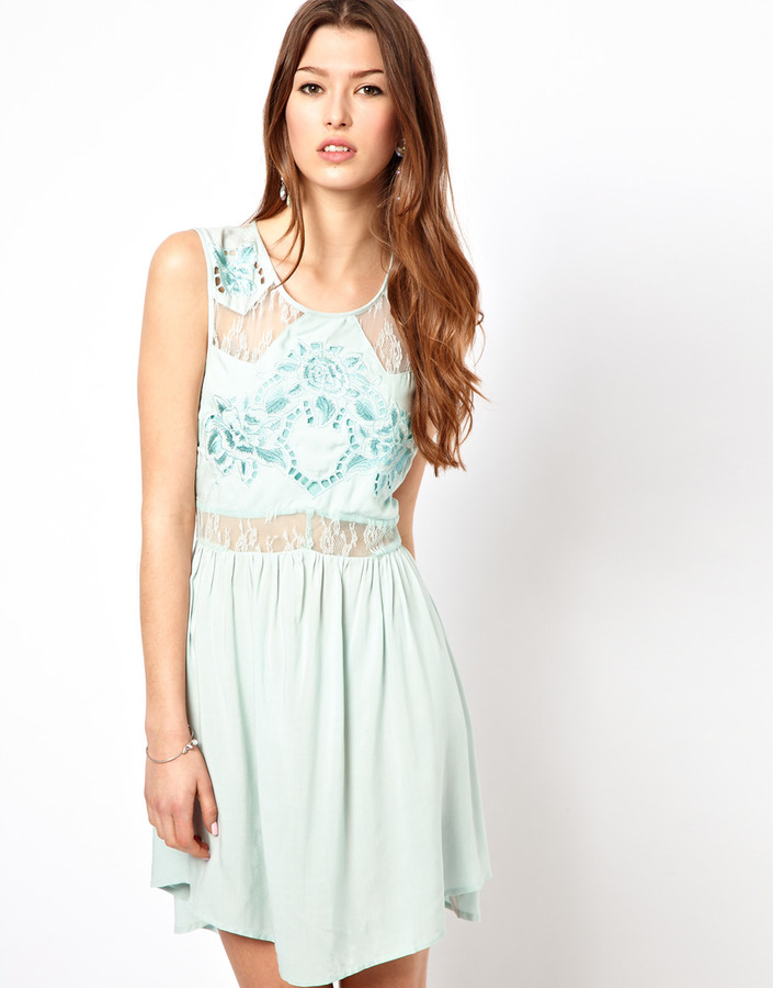 Frock And Frill Lace Back Dress With Floral Detail