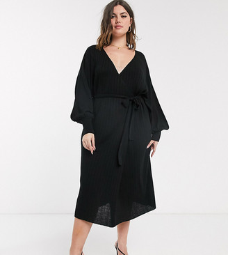 ASOS DEISGN Curve knitted wrap dress with volume sleeve