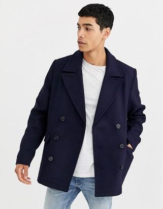Asos Design DESIGN wool mix peacoat in navy