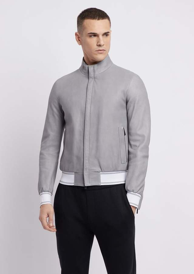2034e36abc Nappa Leather Bomber Jacket With Stretch-Knit Trims
