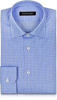 Forzieri Light Blue Checked Non Iron Cotton Slim FIt Men's Shirt