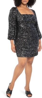 ELOQUII Sequin Square Neck Puff Sleeve Minidress