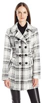 Byer California Women's Chinky Plaid Double Breasted Wool-Blend Peacoat