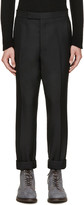 Thom Browne Black Wool Tapered Trousers